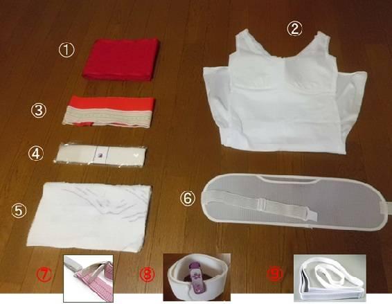 浴衣(女性)着付けに必要な小物一式